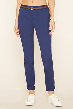 Belted Woven Trousers