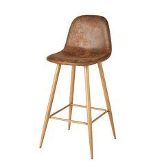 Antique Brown Microsuede Bar Chair   Maisons du Monde