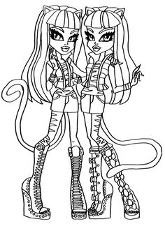Purrsephone & Meowlody Monster High Coloring Page