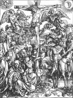 Albrecht Durer, 1511. At Golgotha, the setting of the Crucifixion, Christ suffers upon the Cross with mourners at his right and soldiers at his left. Three angels gather the blood from his wounds into chalices.