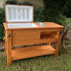 Rustic Cooler Table w/ Bottle Opener and Towel Hook ~ Rustic WoodWorx Wood Cooler, Patio Cooler, Outdoor Cooler, Backyard Projects, Wood Projects, Wooden Ice Chest, Cooler Stand, Cooler Cart, Porch Bar