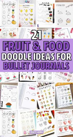 21 Best Step By Step Food Doodles For Your Bujo - Crazy Laura Check out the best step by step food doodle tutorials and ideas for your bullet journal Food Doodles, Bujo Doodles, Doodle Drawings, Easy Drawings, Doodle Art, Fruit Doodle, Bullet Journal Themes, Bullet Journals, Cupcake Drawing