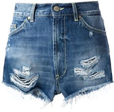 $88, Blue Ripped Denim Shorts: Dondup Distressed Denim Shorts. Sold by farfetch.com. Click for more info: https://lookastic.com/women/shop_items/56663/redirect