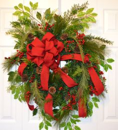 Red Traditional Christmas Wreath by GaslightFloralDesign on Etsy, $127.00