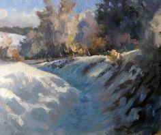 Chemin Enneigé - Huile sur Panneau - 27 x 22 cm (3F)