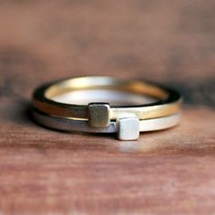 Modern geometric stack rings - 14k gold and recycled sterling silver - square shape -metropolis - made to order by metalicious on Etsy https://www.etsy.com/uk/listing/119877214/modern-geometric-stack-rings-14k-gold