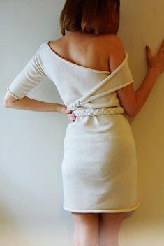 Little White mini Dress - Open shoulder - Asymmetric neckline - Pleated belt - Fine soft knit -Unique design   Color: Cream  Other Colours Available On Request Size Guide:  S bust (cm) 80-84 bust(in) 31,5-33 waist (cm) 61-65 waist(in) 24-25,5 hips (cm) 86-90 hips(in) 35,5 approx length 82cm/33    M bust (cm) 88-92 bust(in) 34,5-36 waist (cm) 69-73 waist(in) 27-29 hips (cm) 94-99 hips(in) 37-39 approx length 85cm/33,46    L bust (cm) 97-102 bust(in) 38-40,5 waist (cm) 78-84 waist(in) 30,5-33…