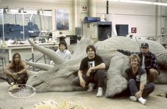 Character Creators Joey Orosco, Bill Basso, Paul Mejias, Crash McCreery and Rob Ramsdell with the completed JP1 Triceratops sculpture.