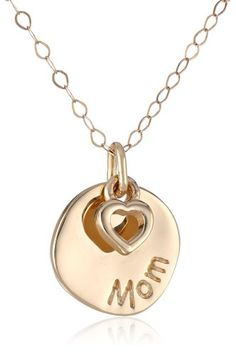 14k Yellow Gold Mom and Heart Disc Necklace, 17″: Mother's Day Gift