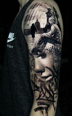 Beautiful Surrealist Double-Exposure Tattoos Mash Up People, Architecture & Nature double exposure tattoo © tattoo artist Jak Connolly 💙📌💙📌💙📌💙 3d Tattoos For Men, Dot Tattoos, Cool Tattoos For Guys, Trendy Tattoos, Popular Tattoos, Body Art Tattoos, Geometric Tattoos, Portrait Tattoos, Teardrop Tattoo