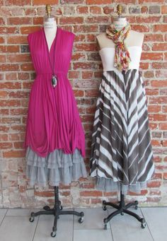 Bright colors and bold patterns are in this summer and we have tons in our store right now!! Stop by our main store and see what's new for summer!!  Right: Red Beans and Rice dress, Chan Luu necklace, Myrine and Me skirt  Left: Lauren Vidal dress, East Cloud scarf,Myrine and Me skirt