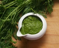 Avocado-Carrot Top Dressing   Good way to make use of carrot top greens