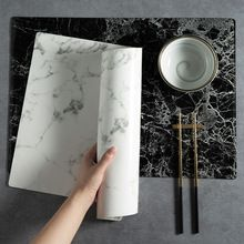 Pu Leather Placemat Black White Marble Pattern Table Mat Smooth Heat Insulation Waterproof Placemat Coaster Home Decoration Marble Pattern Placemats Table Mats