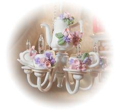 Dollhouse Miniature - Shabby Chic Working Style Tea Set Chandelier - 1/12th scale. $65.95, via Etsy.