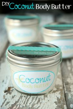 Maybe I can make my own lotion, body wash, lip glos.and then put them in little care packages for all the girls in my family! DIY Coconut Body Butter Jar Gifts Gifts in a Jar Diy Beauty, Beauty Hacks, Homemade Body Butter, Diy Lotion, Diy Spa, Homemade Beauty Products, Coconut Products, Jar Gifts, Beauty Recipe