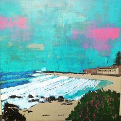 Rainbow bay surf club and snapper rocks from greenmount point coolangatta Australia Acrylic on canvas by garyplummer_art