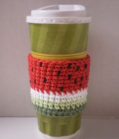 Watermelon Coffee Cozy Hand Crafted by FibersOfHome on Etsy, $8.00