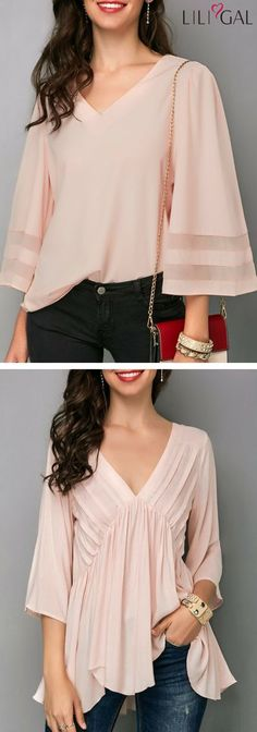 Second photo good for belly and arms - maybe a problem with the neck/bodice - Light Pink Three Quarter Sleeve V Neck Blouse/ Pink Asymmetric Hem V Neck Blouse Beautiful Blouses, Beautiful Outfits, Blouse Patterns, Blouse Designs, Casual Outfits, Fashion Outfits, Womens Fashion, Cute Tops, Blouses For Women