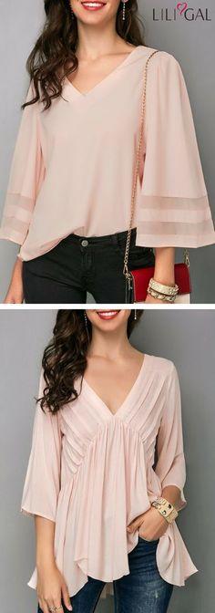 Light Pink Three Quarter Sleeve V Neck Blouse/ Pink Asymmetric Hem V Neck Blouse #liligal #top #blouse #shirts #tshirt