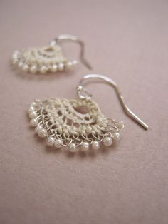 Emilia Earrings. Hand embroidered vintage lace, with silver and tiny glass beads. By Judith Brown Jewellery