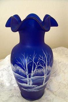 "Fenton Satin Blue Cobalt Vase MOONLIGHT WONDERS HP Winter Woods Scene 11"" | eBay"