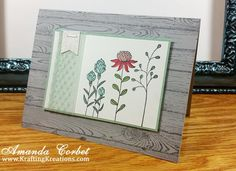 """Smoky Slate Cardstock 5-1/2"""" x 8-1/2"""", scored at 4-1/4"""" Mint Macaroon Cardstock 2-3/4"""" x 4"""" Whisper White Cardstock 2-5/8"""" x 3-7/8"""" Whisper White Cardstock 4"""" x 5-1/4"""" Mint Macaroon Lace Ribbon 4"""" Stamps: Hardwood, Flowering Fields Ink: Basic Gray, Jet Black Stazon Markers: Pool Party, Calypso Coral, Mint Macaroon, Wild Wasabi, Blushing Bride Accessories: Banner Punch, Dazzling Diamonds Glimmer Paper, Stampin' Dimensionals, Tear and Tape Adhesive, Handheld Stapler"""
