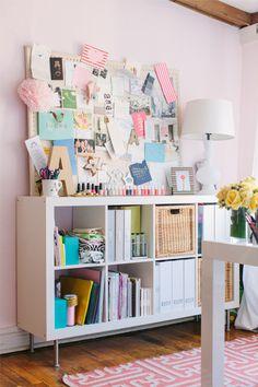 @Alaina Marie Marie Kaczmarski Chicago Apartment Tour // office // white // pink // @INDI Design Farrow & Ball Middleton Pink paint // @IKEA USA shelving // inspiration board // photography by Stoffer Photography