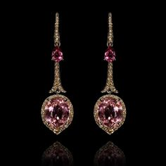 """#LimitedEdition One of a Kind earrings set with Pink #Tourmaline and #diamonds  """"I hope these earrings surprise, delight and inspire, each time they are worn"""" -Annoushka"""
