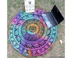 Multicolored Round Floral #Elephant Indian Mandala Tapestry Beach Towel Roundie Yoga Mat on Vedindia.com, $25.00 #roundtapestry #MandalaTapestry #MandalaBeachThrow