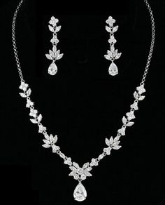 Rhodium CZ Necklace Set