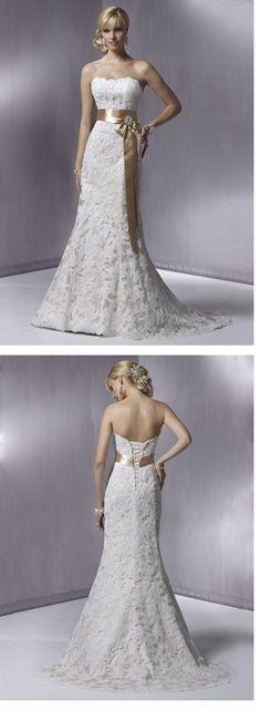 Amazing Trumpet/Mermaid Floor-length Court Strapless Lace Wedding Dresses