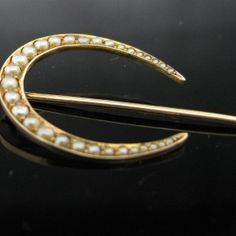 14K #Pearl #Crescent # Lapel / #Hat #Pin #Jewelry #The #Antiques #Room #Galway #Ireland Diamond Rings, Diamond Engagement Rings, Galway Ireland, Hat Pins, Lapel Pins, Pearl Jewelry, Unique Vintage, Jewellery, Pearls