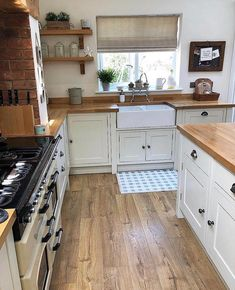 Wooden island and worktops