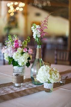 My lovely wedding centerpieces. Some pieces were lent to me, some given and some I created myself! They make me so happy! <3