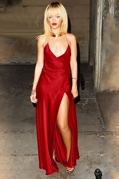 Robyn Rihanna Fenty rockin' a rockin' red silk dress dawning spaghetti straps, a deep plunge, and a high split to show some leg! What u workin' with girl!?!?    //Pinned on @benitathediva, DIY Fashion LifeSTYLE Blog
