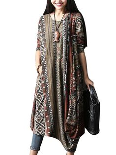 O-Newe Vintage Style Dress Geometric Patterns Printed Long Sleeve Asymmetric Dress