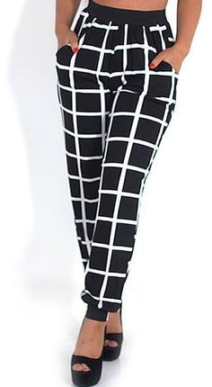 Checkered Cuffed Trousers