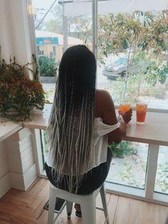 Grey ombré box braids| ombré box braids| grey hair| ombré hair| box braids