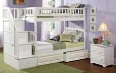 OGDEN WHITE TWIN OVER TWIN STAIRWAY BUNK BEDS Step up the style along with the security that stairs add to to this handsome Ogden Twin over Full Stairway Bunk Bed. The stairs can be positioned  either on the right or left side of the bunks. Plus, take a look at all the storage that is built right into the stairs. Includes: both top and bottom beds, 2 guardrails, Euro-slats and stairway with built in drawers. Built of solid Eco-friendly hardwood in a crisp white finish, as shown.