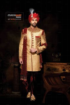 Exclusive range of mens wedding sherwani by Manawat. Explore latest collection of sherwani for men by Manawat. Wedding Outfits For Groom, Wedding Dress Men, Wedding Groom, Wedding Men, Sherwani For Men Wedding, Indian Groom Wear, Punjabi Dress, Groom Poses, Pre Wedding Photoshoot