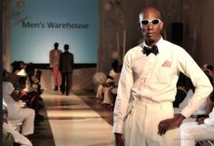 Model Shawne Vinson posing in the Men's Wharehouse Collection at Mario' B's Show