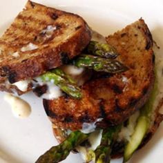Grilled Cheese Ideas -- Extra sharp white Tillamook cheddar on country white with bacon or roasted cherry tomatoes and asparagus