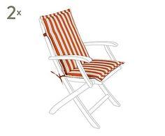 Set de 2 cojines de asiento con respaldo en poliéster - 54x40 cm