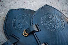 Viking Armor Celtic Wolf Design Carving Leather by IronWoodsShop