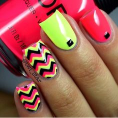 Beach nails, Bright gel polish for nails, Club nails, Cool nails, Fashion nails 2016, Geometric nails, Nails ideas 2016, Nails with wavy lines