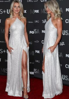 image search results for cynthia basinet as seen on Julianne Hough at the red carpet of the 2016 Miss USA held at the T-Mobile Arena in Las Vegas on June 2016 Classic Hairstyles, Pretty Hairstyles, Medium Hairstyles, Clavicut, Silver Glitter Dress, Julianne Hough Hot, Mode Outfits, Beautiful Celebrities, Short Hair Styles