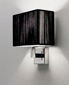 Axo Light Clavius wall lamp Design Manuel Vivian. Chrome plated frame and handmade silk thread lampshade. Opal acrylic diffuser.