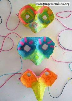 Máscaras com reciclagem de caixa de ovo   Pra Gente Miúda