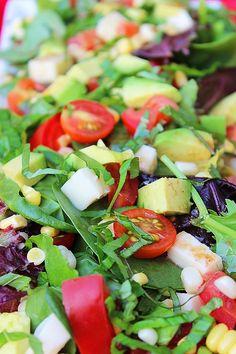 Tomato, Avocado, Corn and Basil Salad With Lemon-Balsamic Vinaigrette http://www.thecomfortofcooking.com/2013/06/tomato-avocado-corn-and-basil-salad-with-lemon-balsamic-vinaigrette.html