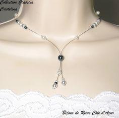 Collier mariage - Collection Classica -Collier Cristelina- MARIAGE SOIREE - collier mariage perles gris foncé, blanc, gris